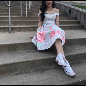 Silver off the shoulder floral dress
